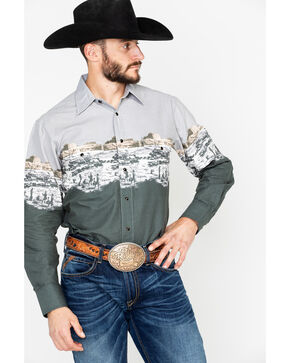 Panhandle Men's Scenic Border Long Sleeve Western Shirt, Grey, hi-res