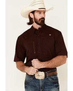 Ariat Men's Solid Maroon Vent Tek Short Sleeve Button-Down Western Shirt - Tall, Burgundy, hi-res