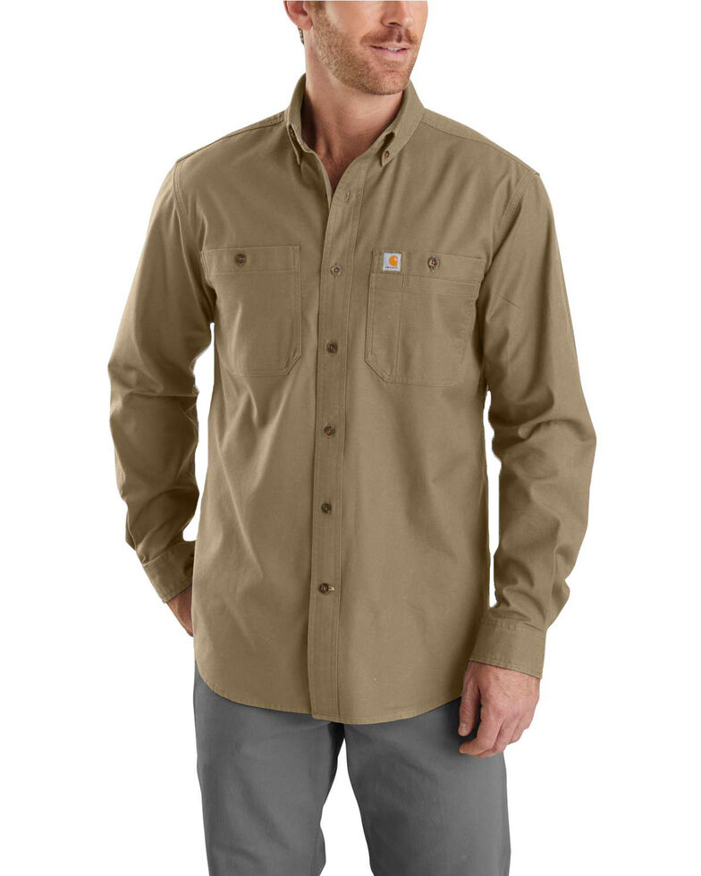 Carhartt Men's Rugged Flex Rigby Long Sleeve Work Shirt - Tall , Beige/khaki, hi-res