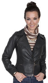 Scully Leatherwear Motorcycle Lamb Jacket , Black, hi-res