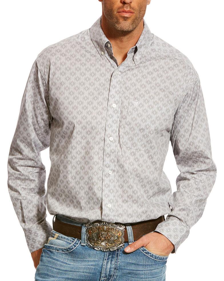 Ariat Men's Grey Carlington Stretch Geo Print Long Sleeve Western Shirt , Grey, hi-res