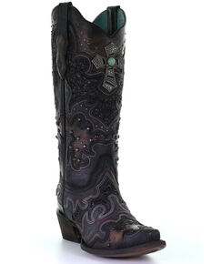 Corral Women's Glitter Inlay & Cross Western Boots - Snip Toe, Black, hi-res