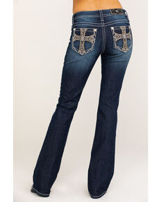 "Miss Me Women's Dark Wash Chained Cross 32"" Bootcut Jeans , Blue, hi-res"