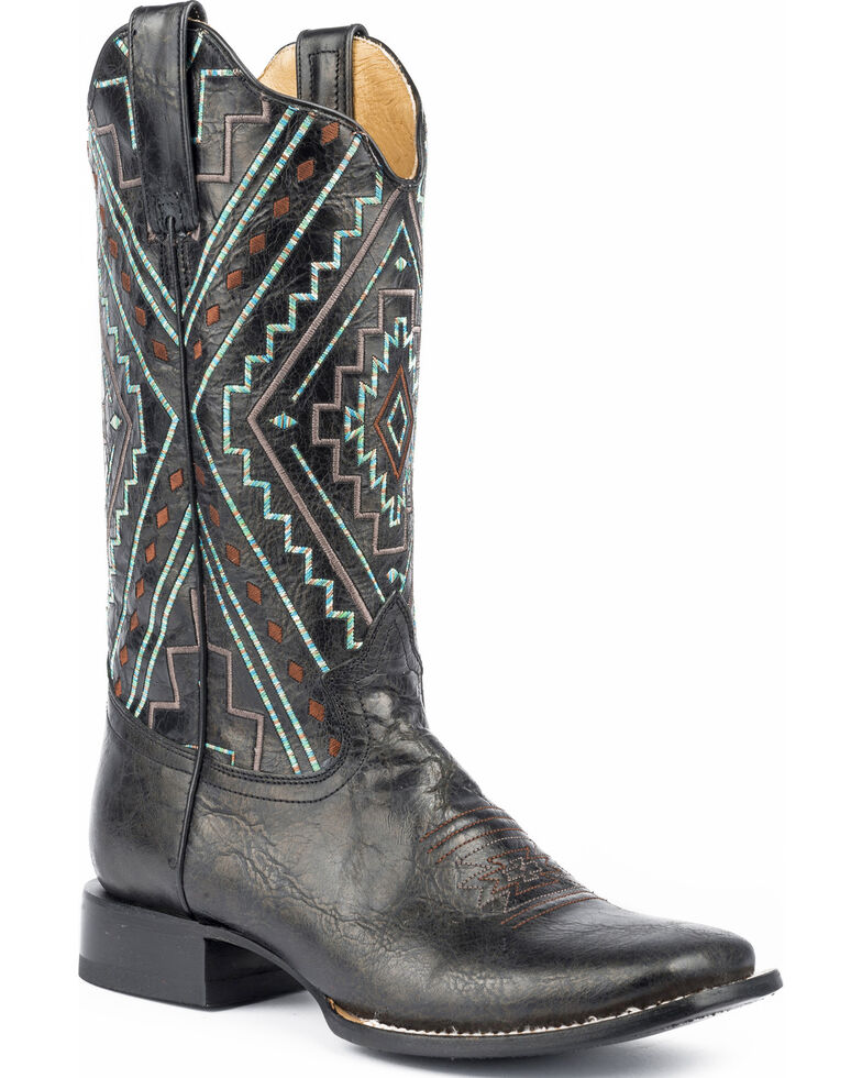 Roper Women's Native Marbled Cowgirl Boots - Square Toe, Black, hi-res