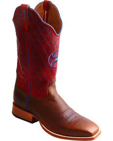 Twisted X Women's Hooey Diamond Stitch Cowgirl Boots - Square Toe, Brown, hi-res