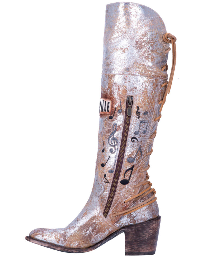 Dan Post Women's Nashville Leather Lace-Up Western Boots - Medium Toe, Silver, hi-res