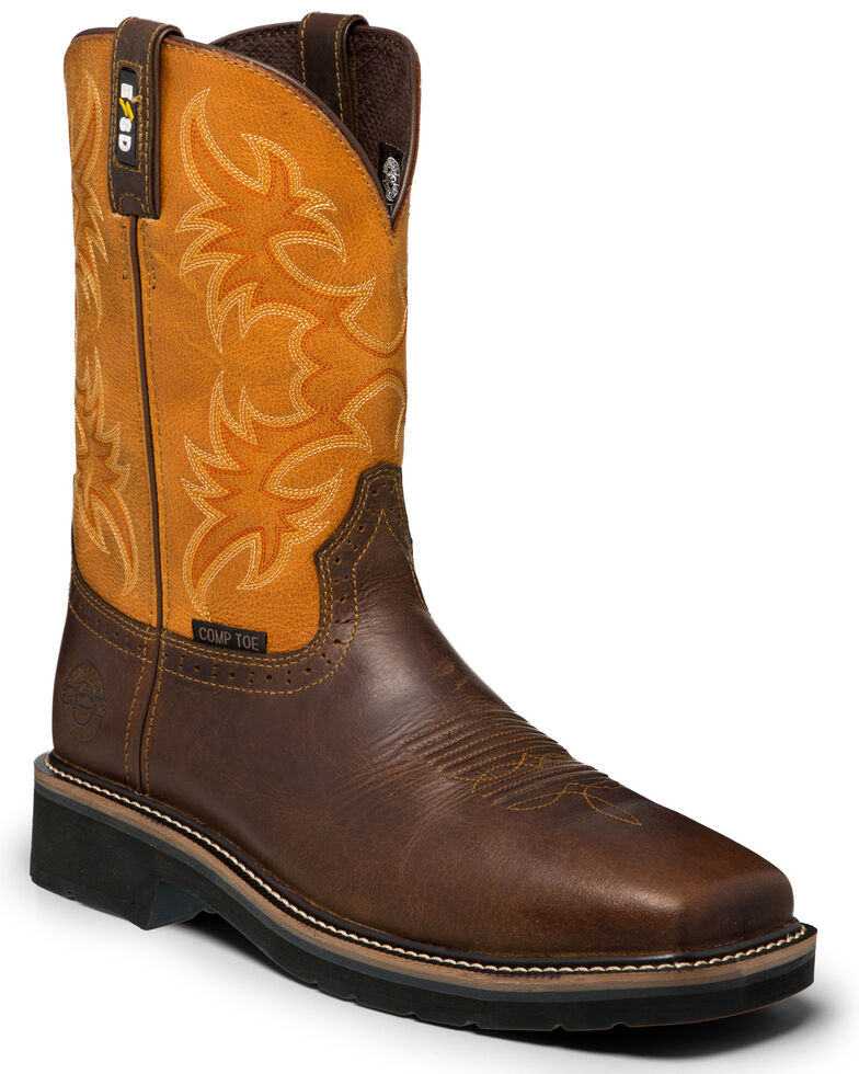 Justin Men's Actuator Western Work Boots - Composite Toe, Brown, hi-res