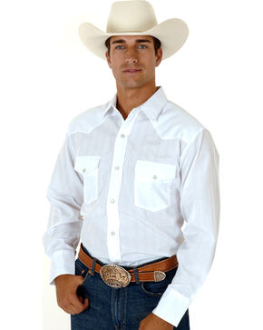 Roper Men's Tone On Tone Long Sleeve Western Shirt, White, hi-res