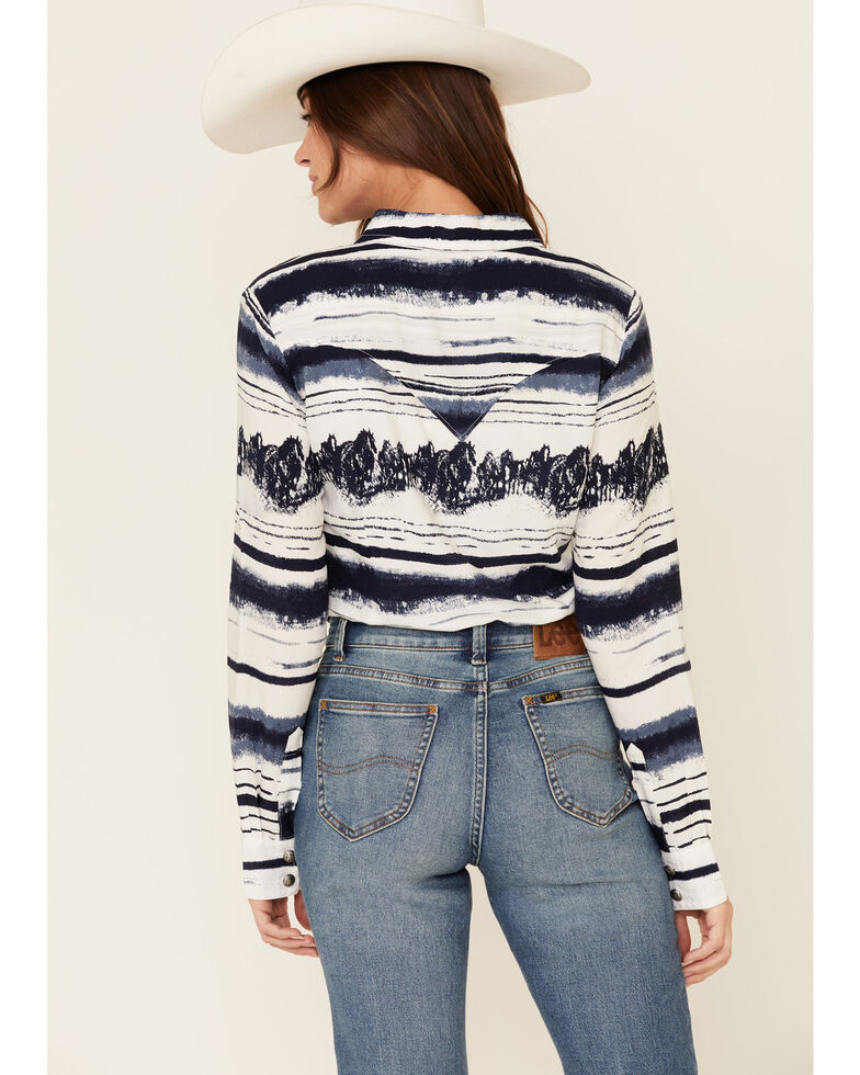 Wrangler Retro Women's Multi Scenic Striped Print Long Sleeve Western Shirt , Multi, hi-res
