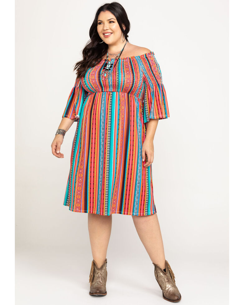 Flying Tomato Women's Off The Shoulder Mixed Print Stripe Dress - Plus, Red, hi-res