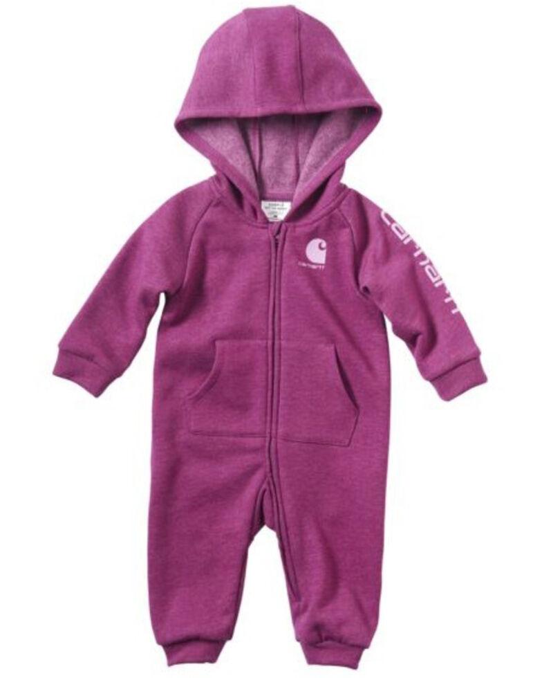 Carhartt Infant Girls' Heather Fleece Coveralls, Purple, hi-res