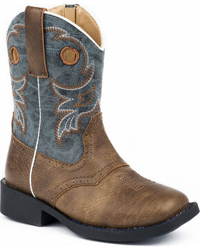 Roper Toddler Boys' Daniel Distressed Saddle Vamp Cowboy Boots - Square Toe, Brown, hi-res