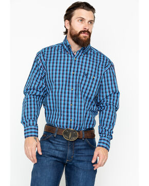 Wrangler Men's Classic Plaid Long Sleeve Western Shirt, Navy, hi-res