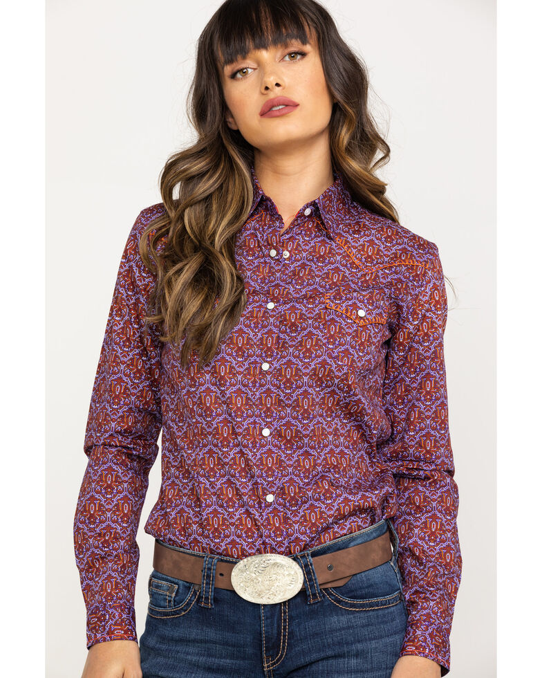 Rough Stock by Panhandle Women's Print Snap Long Sleeve Western Shirt, Purple, hi-res