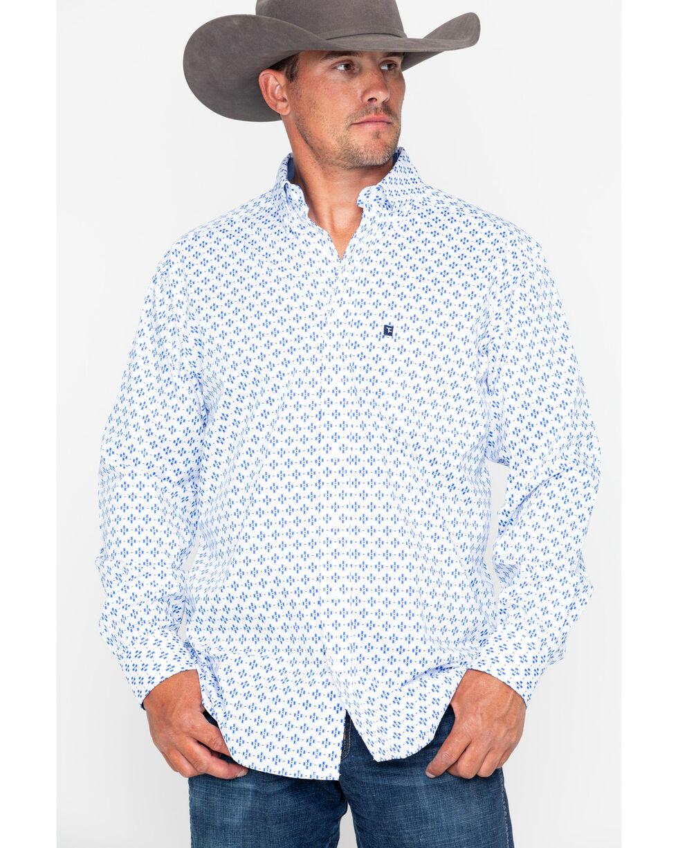 Tuf Cooper Men's Competition Stretch Poplin Long Sleeve Shirt, Blue/white, hi-res