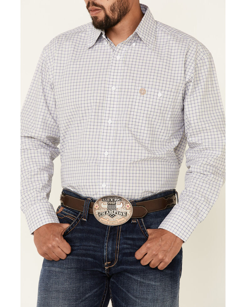 George Strait By Wrangler Men's Navy Check Plaid Long Sleeve Button-Down Western Shirt , Navy, hi-res