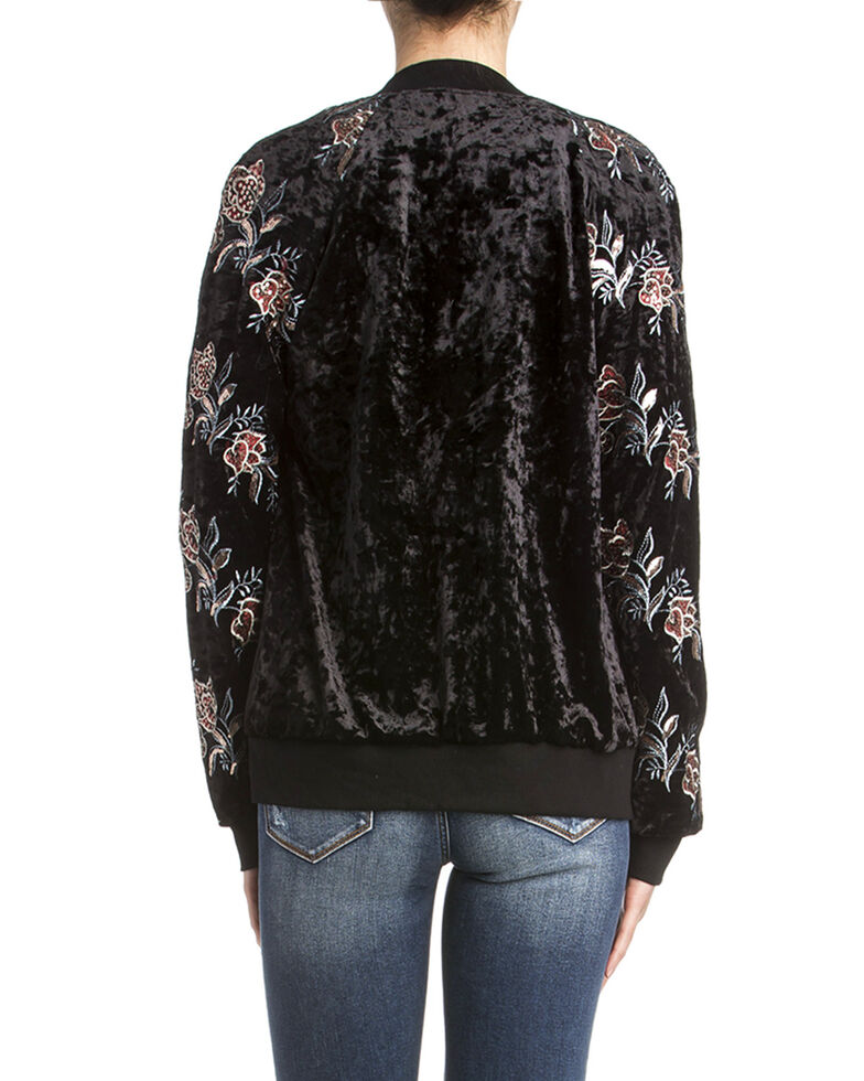 Miss Me Women's Velvet Floral Bomber Jacket, Black, hi-res