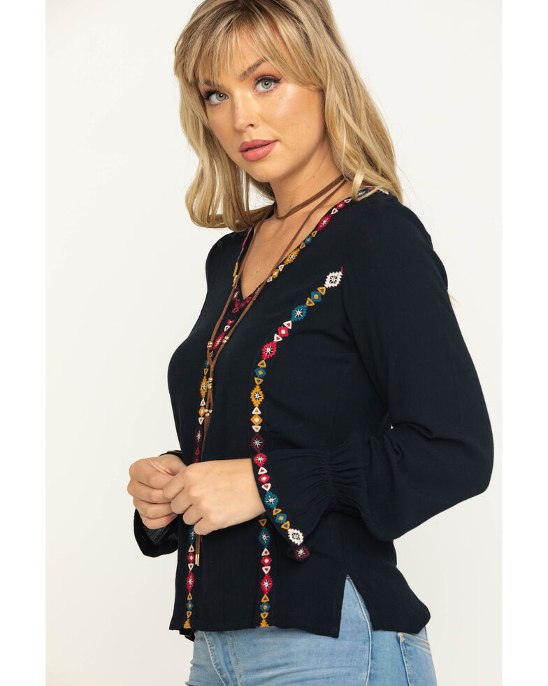 Shyanne Women's Embroidered Peasant Top, Black, hi-res