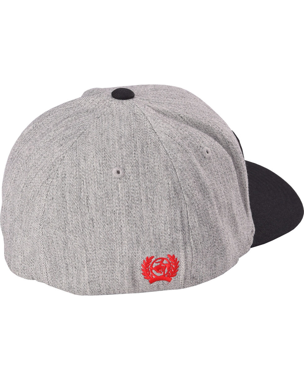 Cinch Men's Grey Flexfit 3D logo Baseball Cap , Heather Grey, hi-res