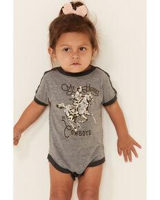 Rodeo Quincy Infant Girls' Grey Cowboy Heroes Graphic Short Sleeve Ringer Onesie , Grey, hi-res