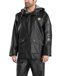 Carhartt Men's Midweight Waterproof Hooded Rain Storm Coat, Black, hi-res