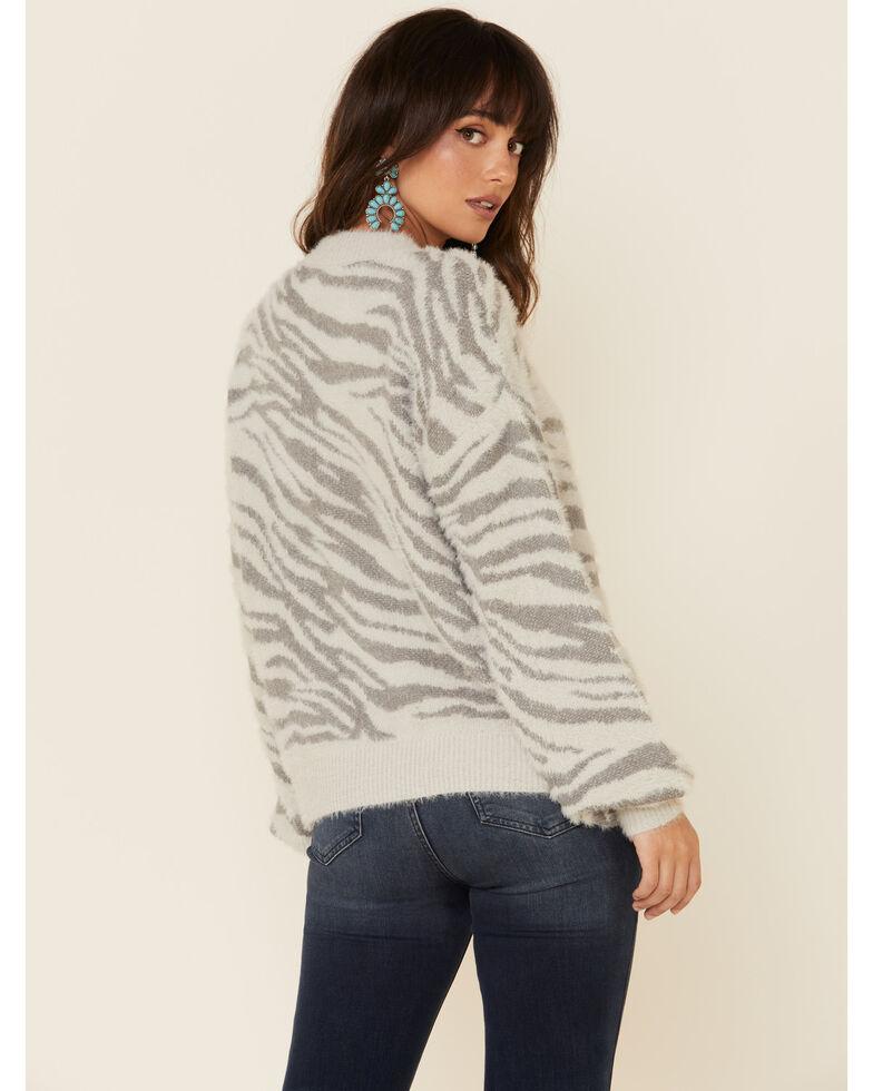 Eyeshadow Women's Grey Tiger Fuzzy Pullover Sweater, Grey, hi-res