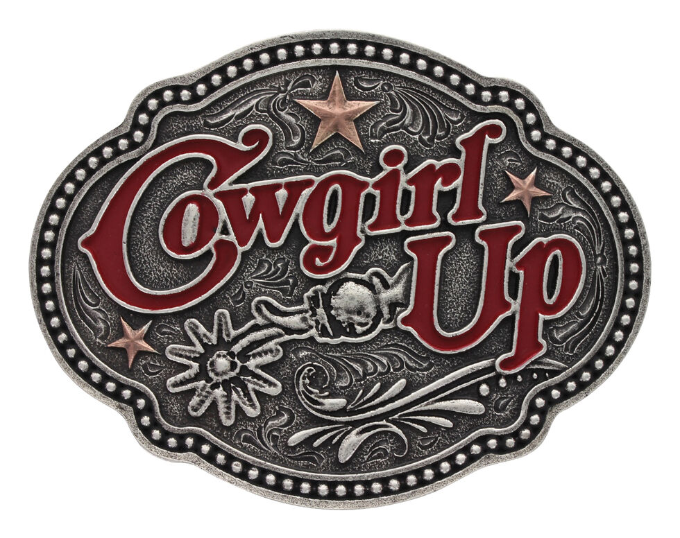 Montana Silversmiths Women's Two Tone Cowgirl Up Stars 'n Spurs Buckle , Silver, hi-res