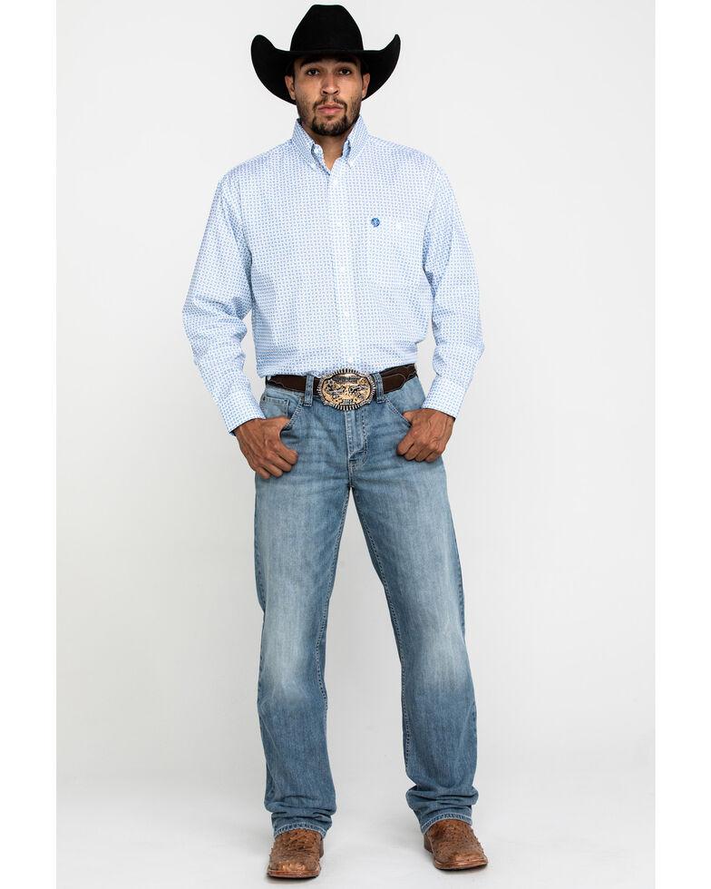 George Strait By Wrangler Men's Small Paisley Print Long Sleeve Western Shirt , Blue, hi-res