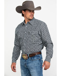 Cinch Men's Navy Modern Paisley Print Long Sleeve Western Shirt , Navy, hi-res