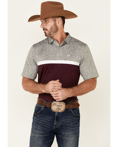 Cinch Men's Purple Two Tone Stripe Short Sleeve Polo Shirt , Purple, hi-res