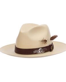 Biltmore Men's Ivory Harnet Shantung Straw Western Fedora Hat , Ivory, hi-res