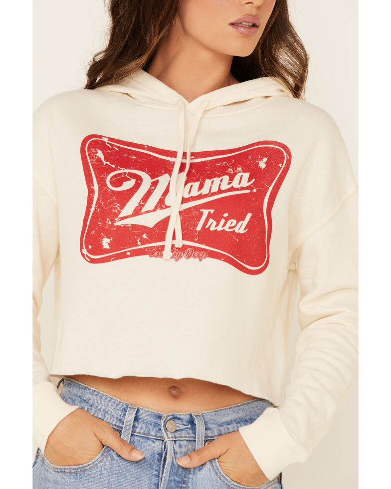 Country Deep Women's Mama Tried Graphic Cropped Hooded Sweatshirt , Ivory, hi-res
