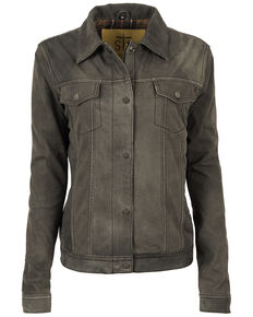 STS Ranchwear Women's Nubuck Grey Cartwright Leather Jacket, Dark Grey, hi-res