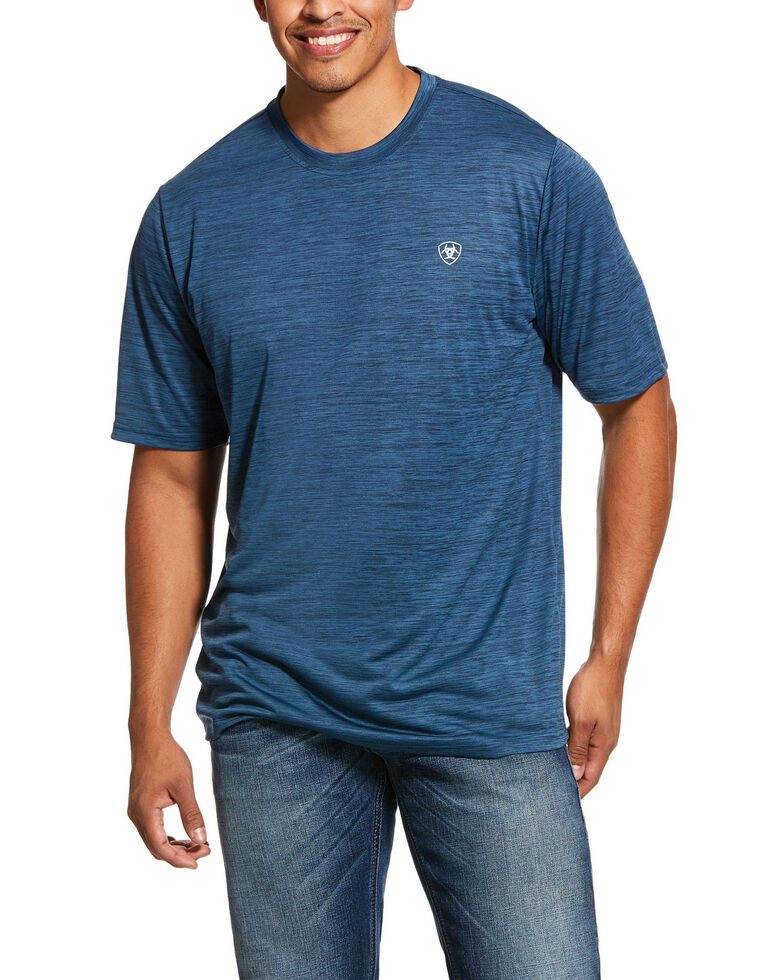 Ariat Men's Blue Charger Tech Jersey Short Sleeve T-Shirt , Blue, hi-res