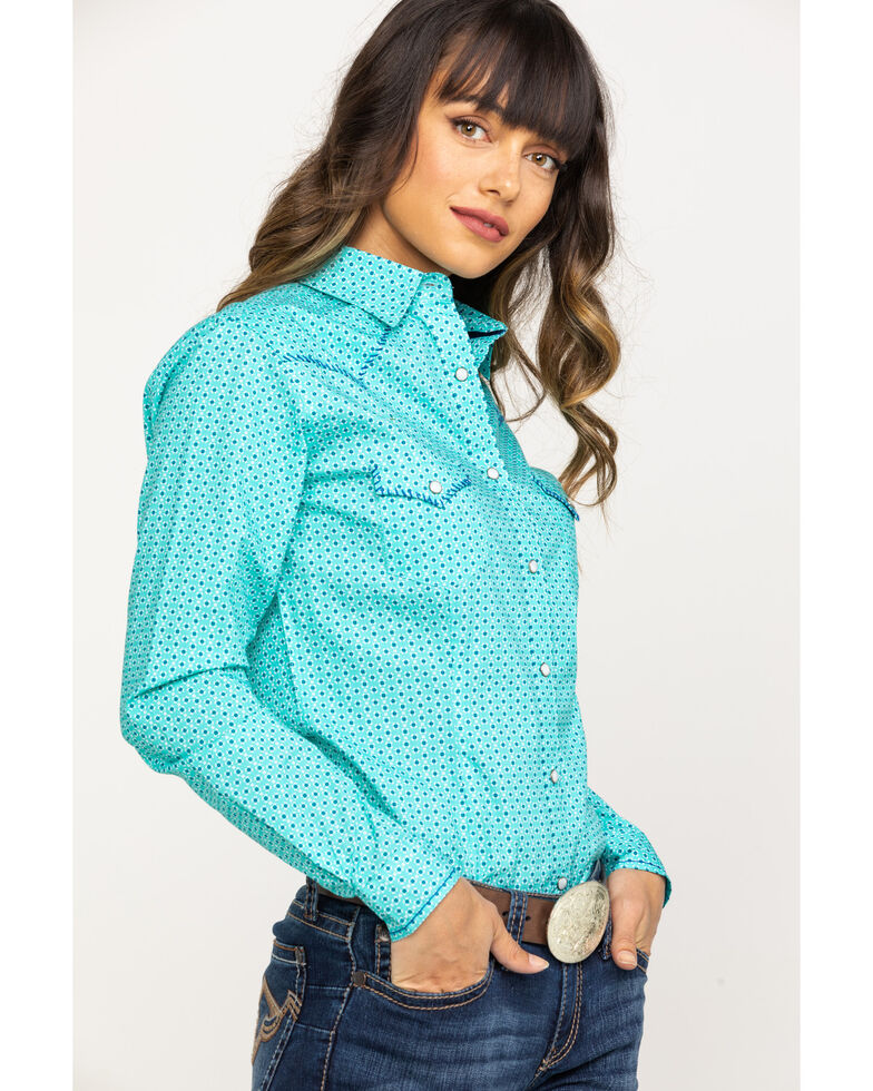 Rough Stock by Panhandle Women's Turquoise Geo Print Snap Long Sleeve Western Shirt, Turquoise, hi-res