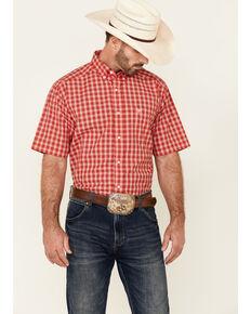 Ariat Men's Bowen Small Plaid Short Sleeve Button-Down Western Shirt , Red, hi-res