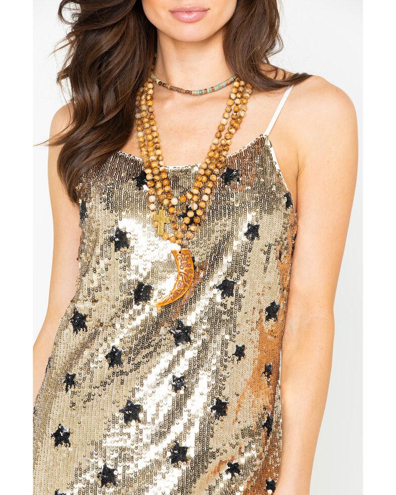 Dance & Marvel Women's Sequin Star Print Spaghetti Strap Dress , Gold, hi-res