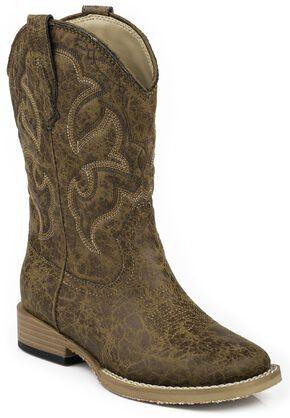 Roper Boys' Distressed Faux Leather Cowboy Boots - Square Toe, Tan, hi-res