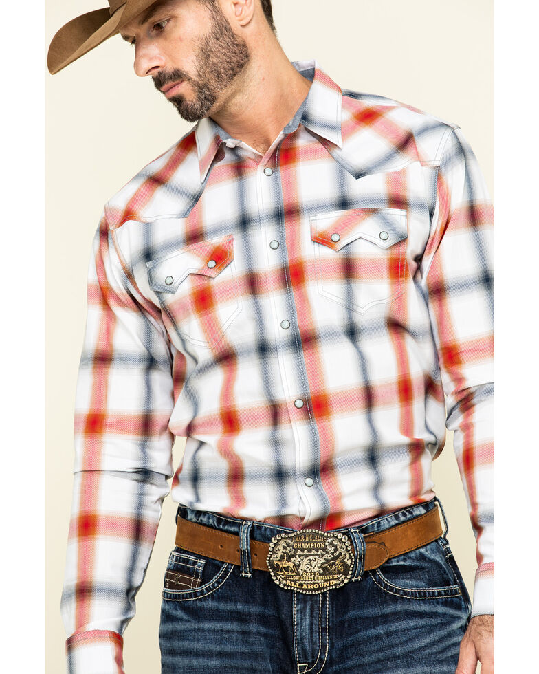 Cody James Men's Prairie Large Plaid Long Sleeve Western Shirt  , White, hi-res