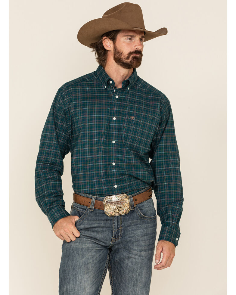 Ariat Men's Osborne Stretch Small Plaid Long Sleeve Western Shirt , Teal, hi-res