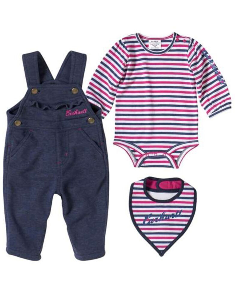 Carhartt Infant Girls' Indigo Heather 3 Piece French Terry Overall Set, Multi, hi-res