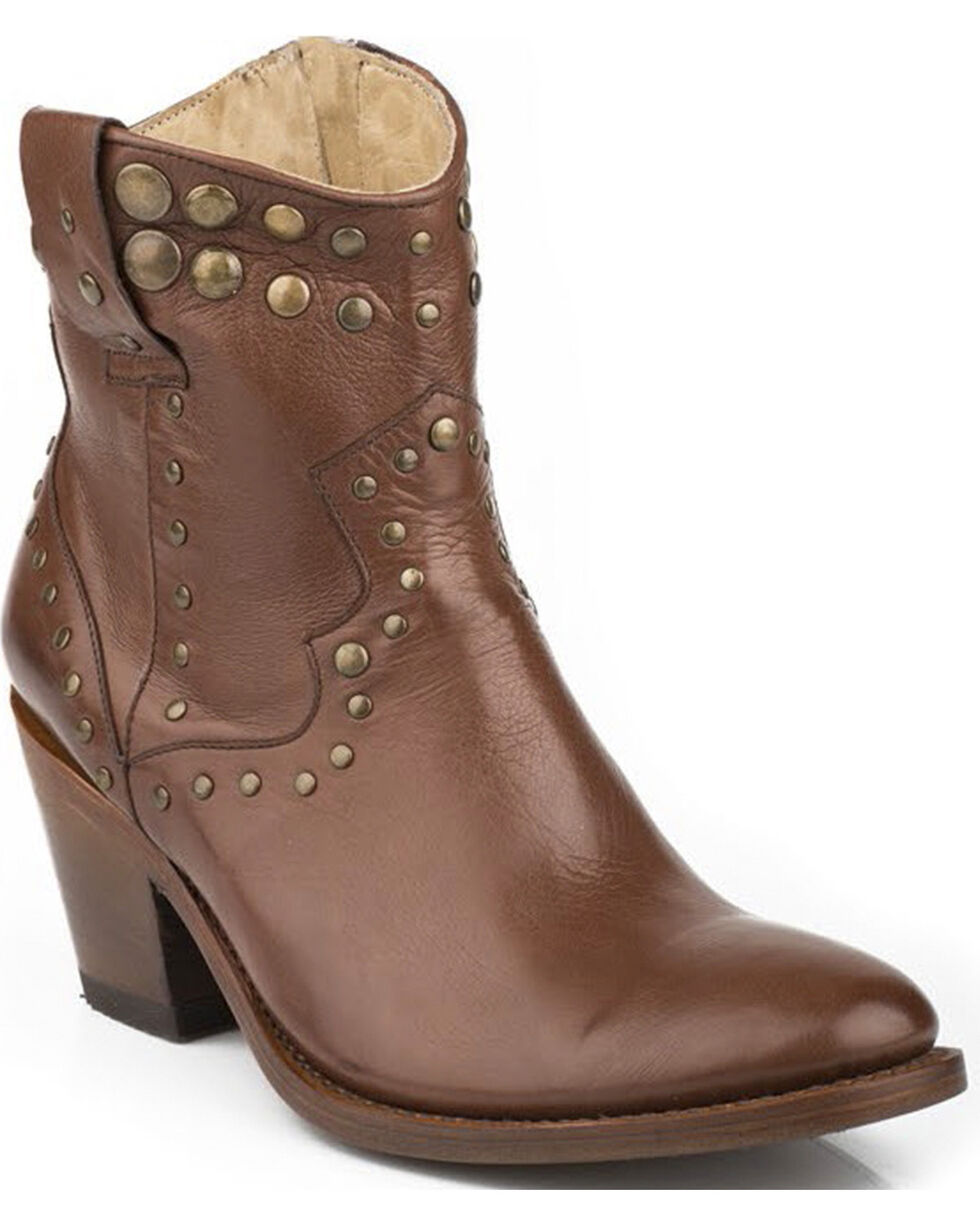 Stetson Tan Studded Cowgirl Boots - Round Toe, Whiskey, hi-res