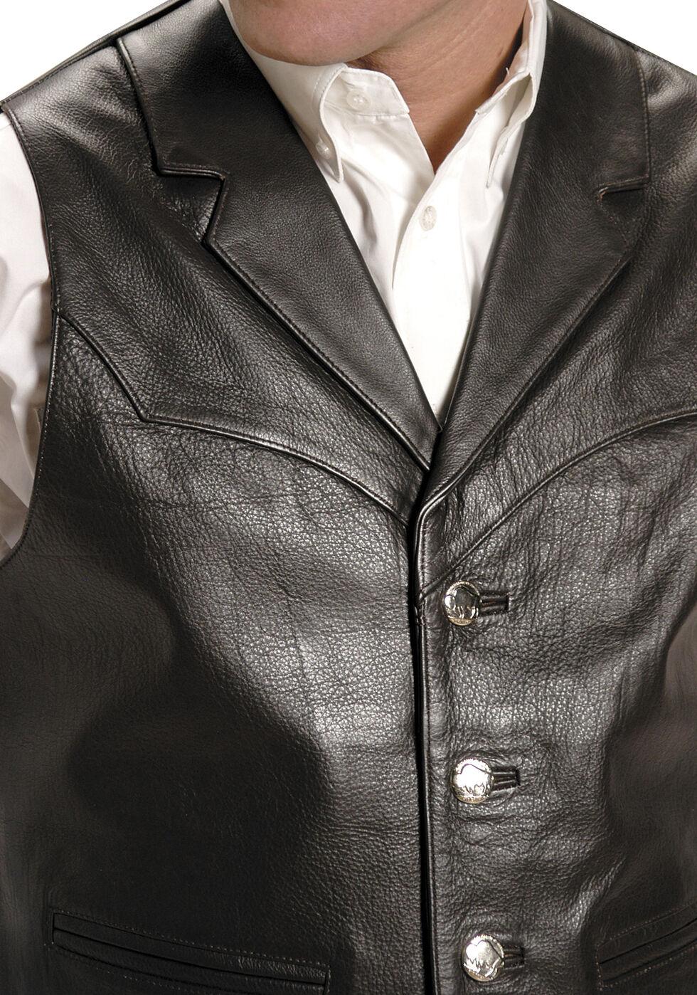 Roper Men's Nappa Notched Collar Leather Vest, Brown, hi-res