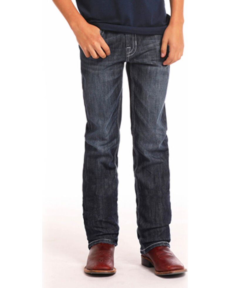 Rock & Roll Cowboy Boys' Reflex Revolver Dark Vintage Boot Jeans (4-20) , Indigo, hi-res