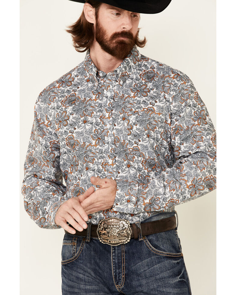 Cody James Core Men's Rein In Large Floral Print Long Sleeve Button-Down Western Shirt - Tall , Multi, hi-res