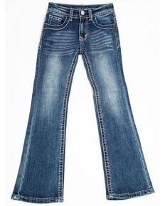 Grace in LA Toddler Girls' Dark Wash Floral Pocket Bootcut Jeans, Blue, hi-res