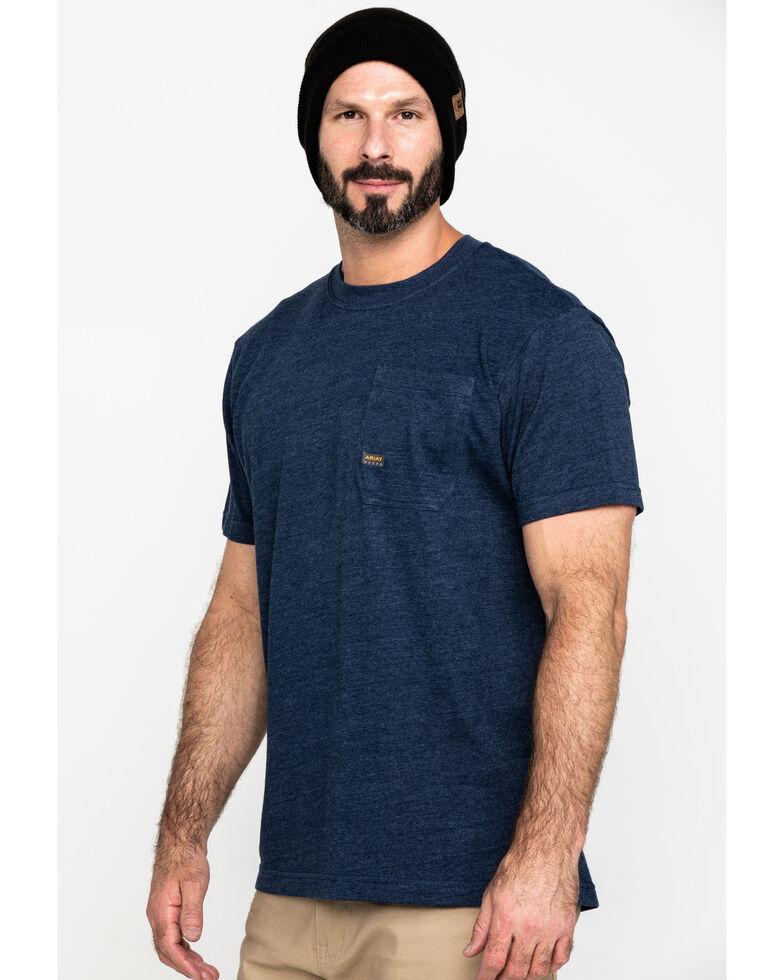 Ariat Men's Navy Rebar Cotton Strong American Grit Work T-Shirt , Navy, hi-res