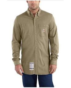 Carhartt Men's FR Khaki Force Cotton Hybrid Long Sleeve Button-Down Work Shirt , Beige/khaki, hi-res