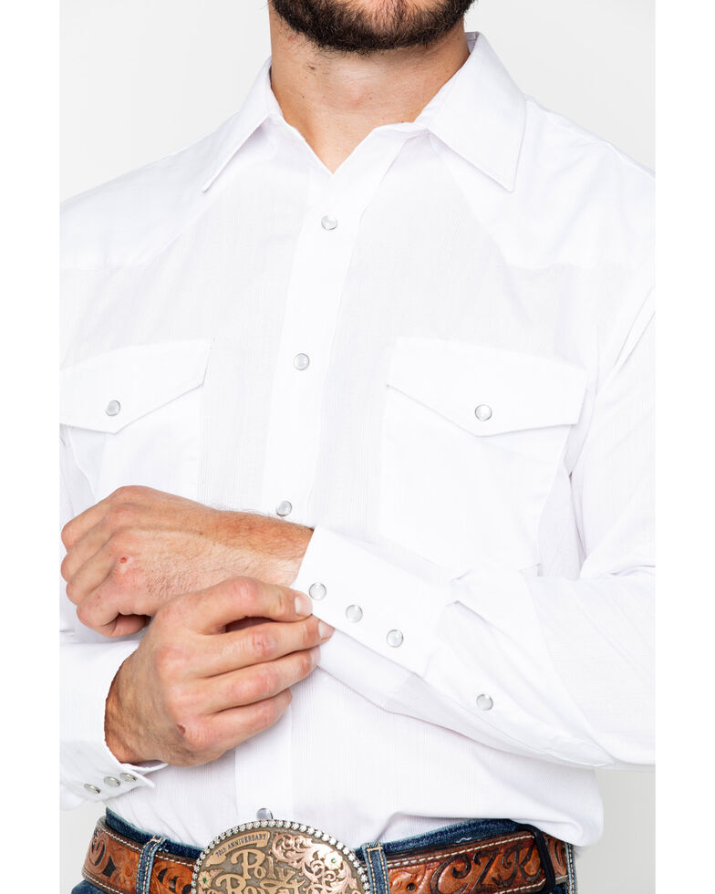 Roper Men's Solid Tone On Tone Long Sleeve Western Shirt , White, hi-res