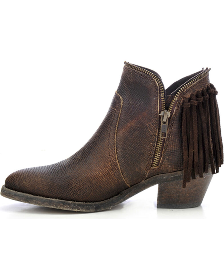 Corral Women's Fringe Zip Booties - Round Toe, Brown, hi-res
